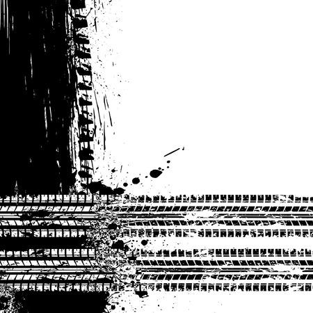 skidding: Background with black grunge frame and tire track.  Illustration