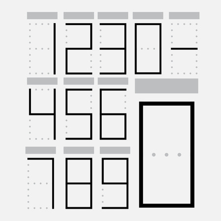 numerals: Set of numerals with gray frames.  Illustration