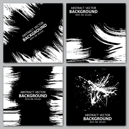 splash background: Set of four grunge black and white backgrounds. eps10 Illustration