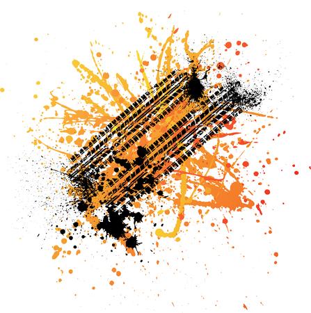 skidding: Black tire track with color ink blots. eps10