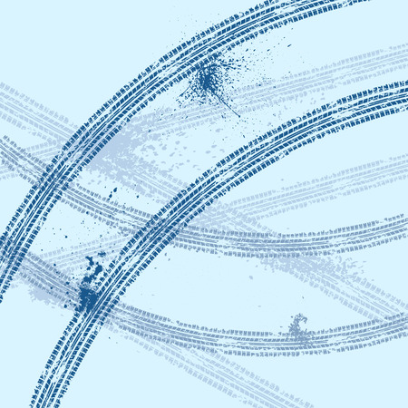 huellas de llantas: Fondo azul con las huellas de los neumáticos del grunge. eps10 Vectores