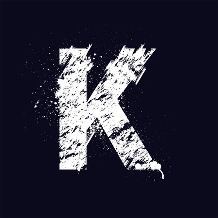 White Grunge Letter K Isolated On Dark Background Eps10 Royalty