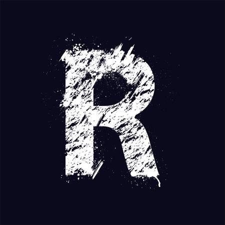 abecedario graffiti: Blanco letra R del grunge aislado en fondo oscuro. eps10