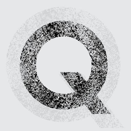 black grunge background: Black grunge letter Q on gray background. eps10