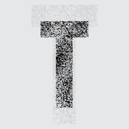 t background: Black grunge letter T on gray background. eps10