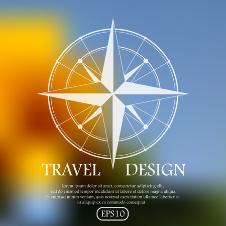 adventure travel: White silhouette of wind rose on mesh background. eps10