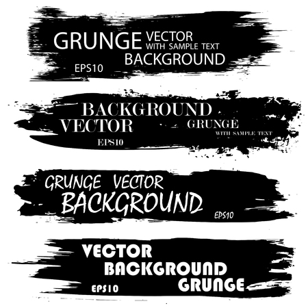Set of black grunge ink splashes with text. eps10 Illustration