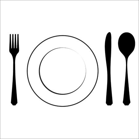 plato de comida: Cubiertos símbolo negro aislado en blanco. eps10