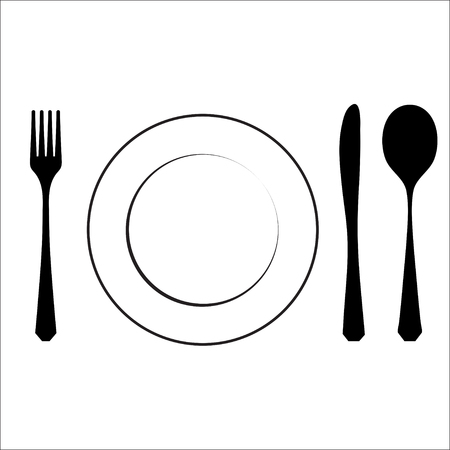 almuerzo: Cutlery black symbol isolated on white. eps10