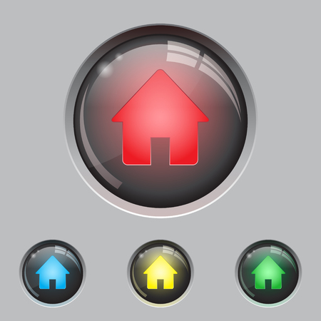 round button: Set of four home buttons different colors. eps10 Illustration