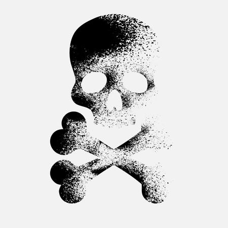 ink blots: Silhouette of skull with black ink blots. eps10 Illustration