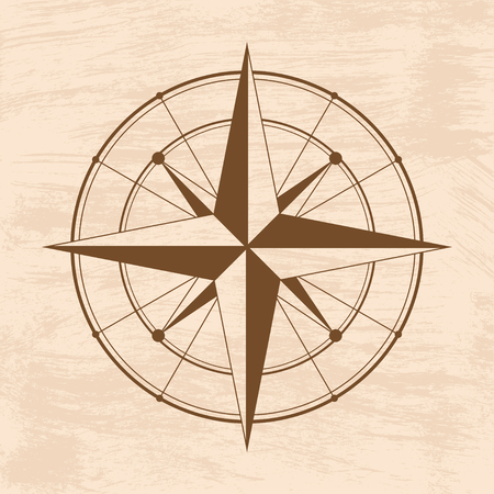 navigational: Brown wind rose isolated on grunge. eps10