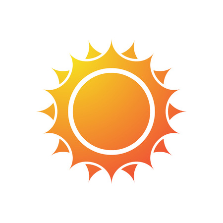 Color symbol with sun and sea wave silhouette. eps10