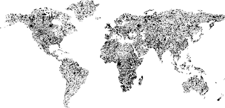 Abstract grunge ink blots background with world map silhouette. eps10