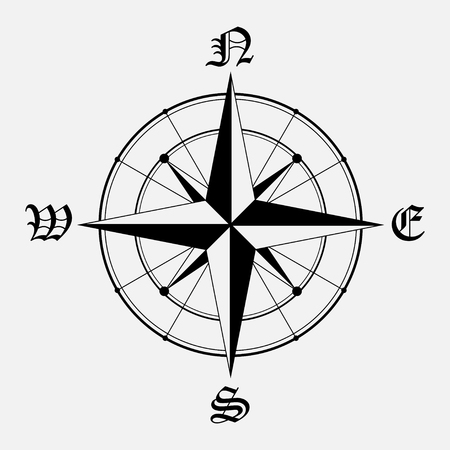 compass: Black wind rose isolated on gray background. eps10