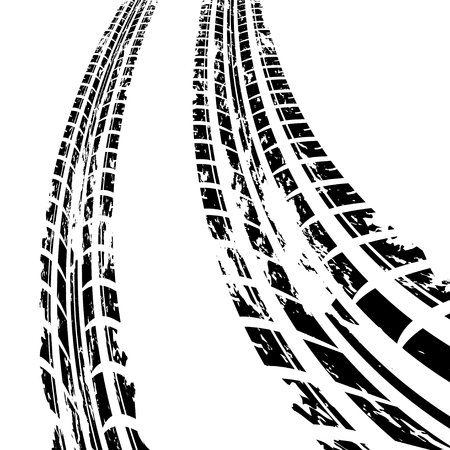 Black tire track print in perspective isolated on white. eps10