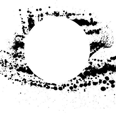 ink blots: White circle frame with black ink blots. eps10