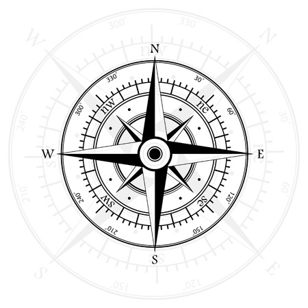 compass rose: Black wind rose isolated on gray with compass arrow. eps10
