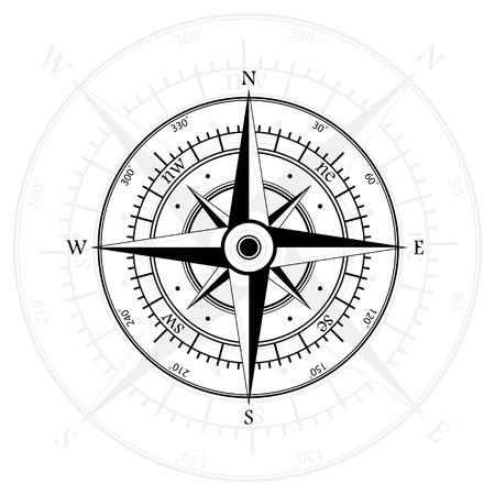 Schwarz Windrose isoliert auf grau mit Kompasspfeil. eps10 Standard-Bild - 45500656