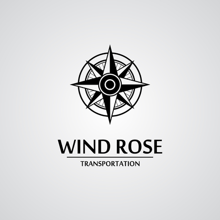 rose illustration: Black wind rose isolated on white with text. eps10