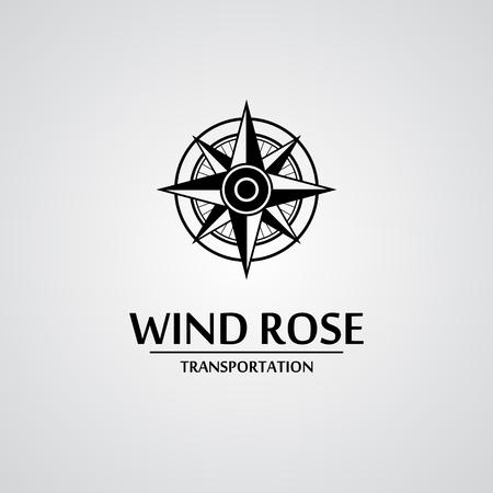 rosa dei venti: Vento nero rosa isolato su bianco con il testo. eps10