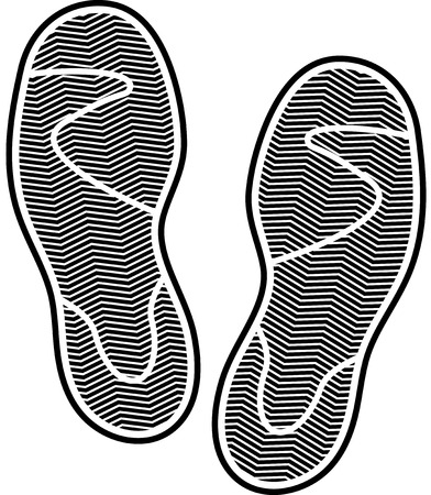 huellas de perro: Black silhouette of shoes print isolated on white background. eps10