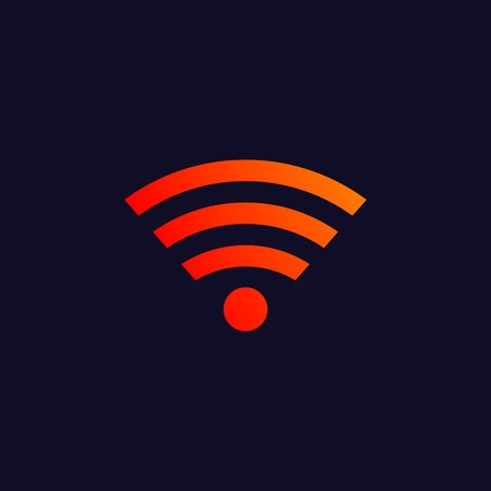 midsection: Orange wireless symbol isolated on blue background. eps10