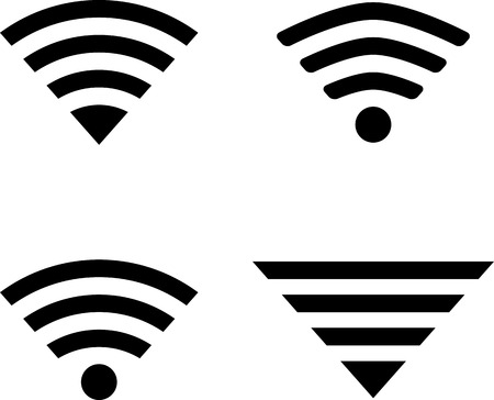 midsection: Set of four wireless technology symbols. eps10