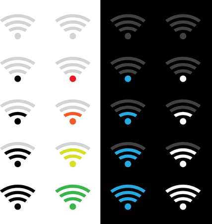 midsection: Set of different wireless technology icons. eps10