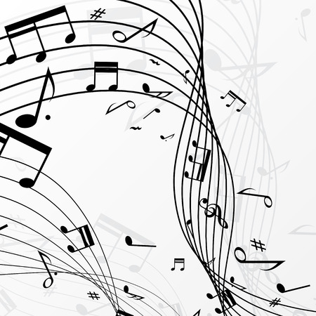 White background with black music notes. eps10