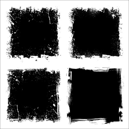 Set of four black grunge square backgrounds. eps10 Çizim