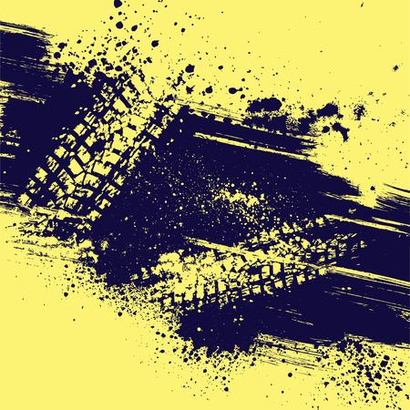 タイヤ トラックとグランジ スプラッシュと黄色の背景。eps10  イラスト・ベクター素材