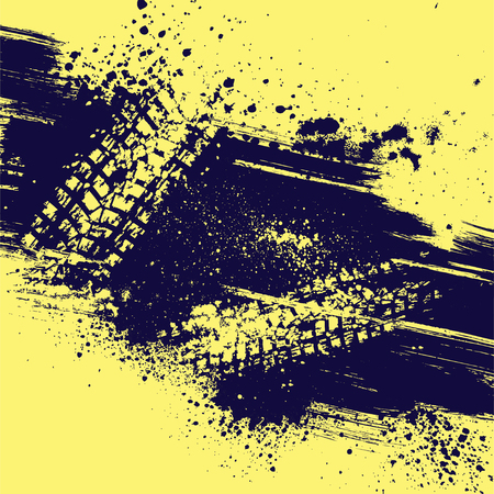 abstract wallpaper: Yellow background with tire track and grunge splash. eps10 Illustration