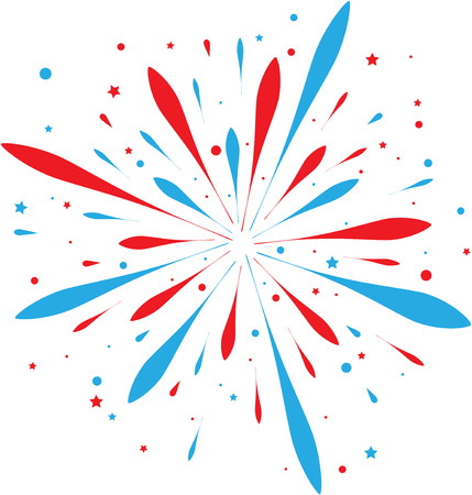 abstract paintings: Red and blue firework isolated on white. eps10 Illustration