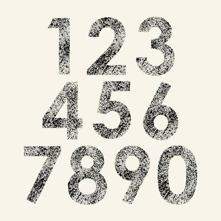 Set of black grunge numbers isolated on white background. eps10
