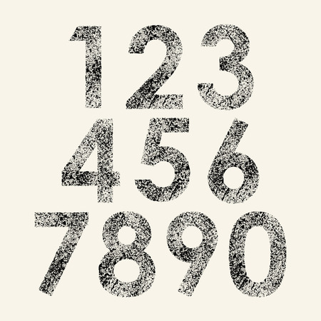 number three: Set of black grunge numbers isolated on white background. eps10