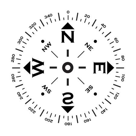 kompas: Černá abstraktní windrose silueta s směrech. eps10