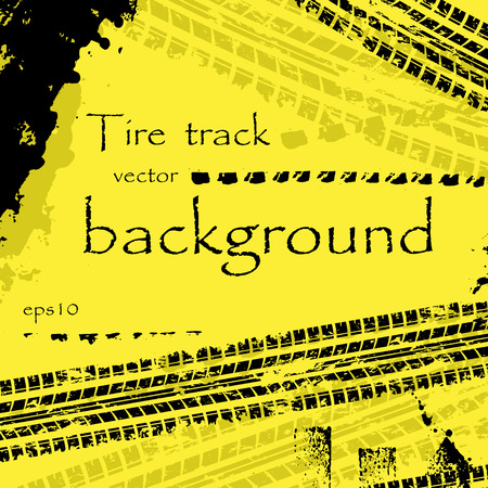 skidding: Abstract yellow background with black tire track. eps10