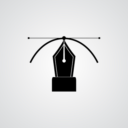 computer art: Black pen icon isolated on white.