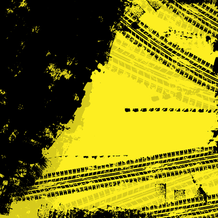 skidding: Yellow tire track background with black grunge.