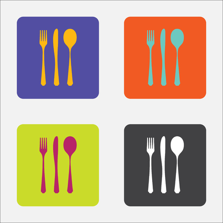 knife fork: Cutlery symbols isolated on different color squares.