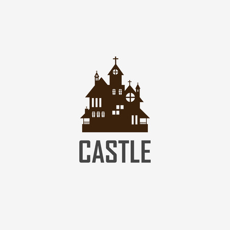 fearful: Halloween castle icon isolated on white background.