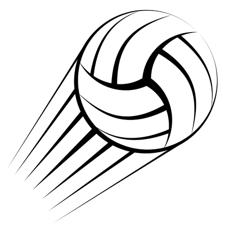 Abstract black volleyball ball silhouette isolated on white.