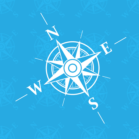 wind instrument: White wind rose isolated on blue background.