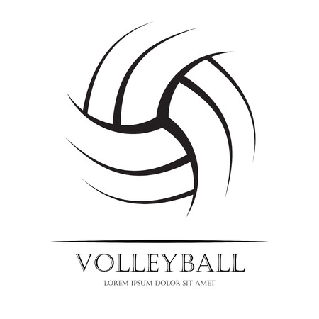 cartoon ball: Black volleyball ball silhouette with sample text. eps10