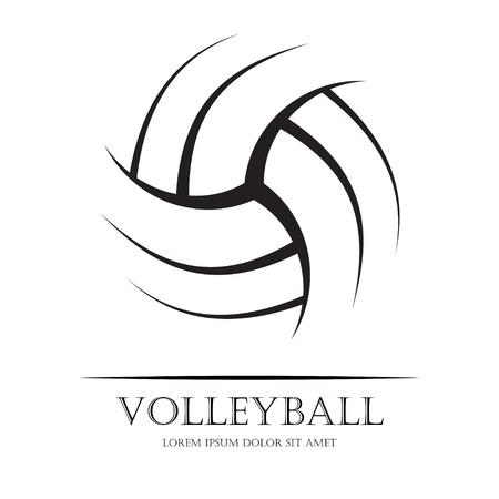 Silueta de pelota de voleibol negro con texto de ejemplo. eps10