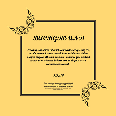 Warm background with black floral frame and sample text.