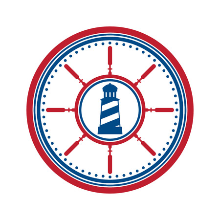 cruise travel: Blue and red lighthouse symbol in circle.