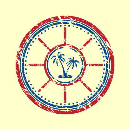 old ship: Grunge blue and red palms symbol.