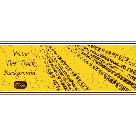 off track: Yellow grunge background with tire track. eps10